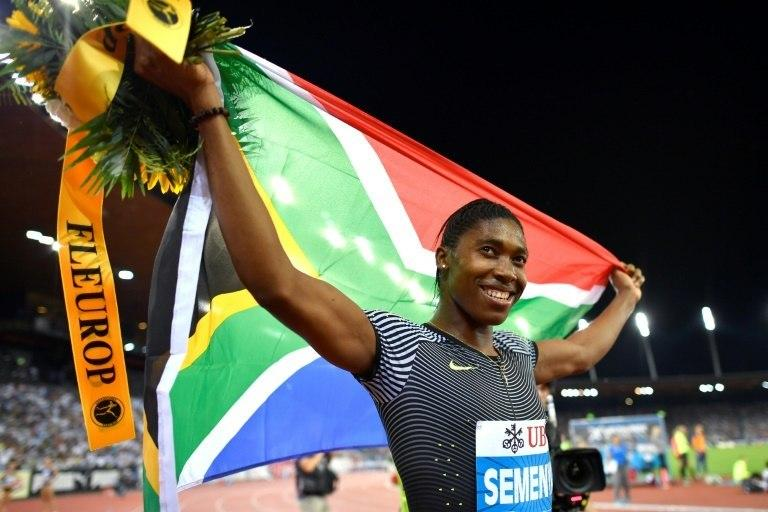 """South Africa's Caster Semenya, who got married January 7, 2017, celebrates after winning the Women's 800m race during the Diamond League Athletics meeting """"Weltklasse"""" September 1, 2016 in Zurich"""