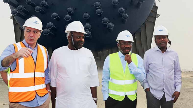 L-R: Chief Operations Officer, Dangote Oil Refinery Company, Giuseppe Surace; Chairman, Execujet Services Limited, Sam Iwuajoku; Chairman, Zenith Bank, Jim Ovia; and President/Chief Executive, Dangote Group, Aliko Dangote, during arrival of refinery equipment at the Dangote Jetty in Lekki, Lagos.