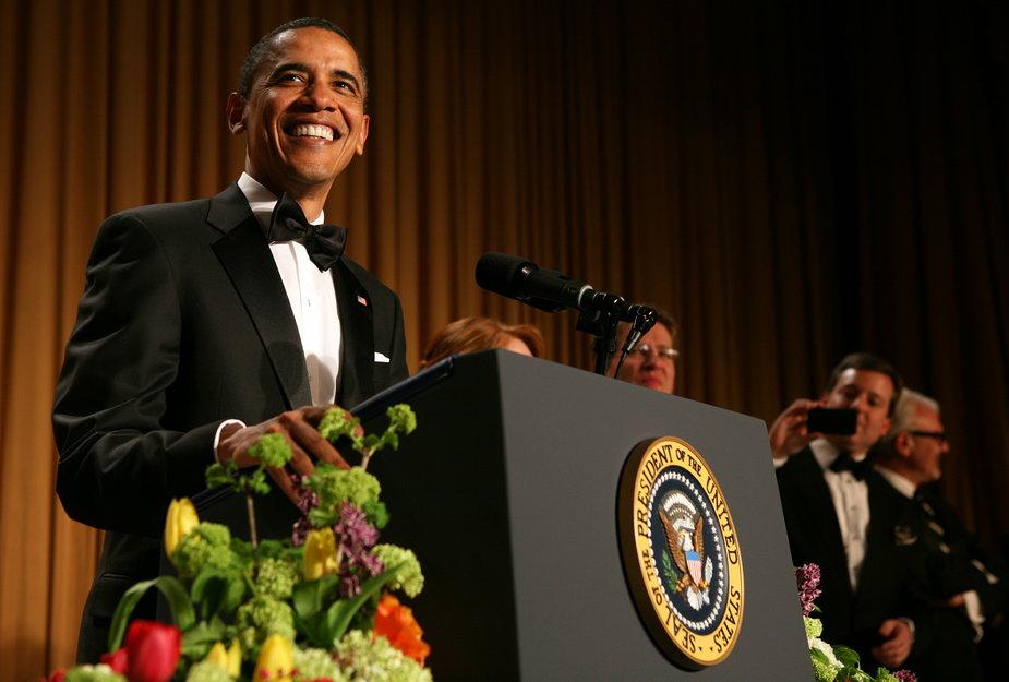 Barack Obama przemawia podczas kolacji korespondentów w Białym Domu, Waszyngton, 30 kwietnia 2011 r.