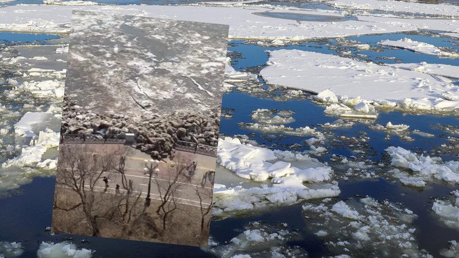 Na rzece w Rosji dryf lodu niemal zmiażdżył ludzi