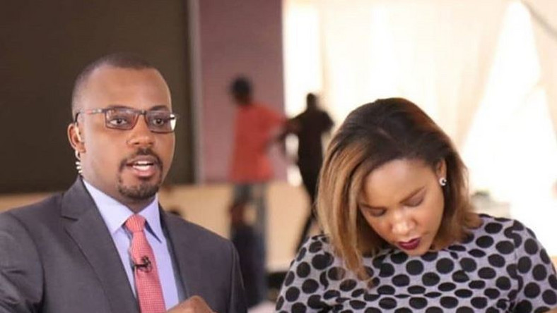 NTV News anchors Edmond Nyabola and Olive Burrows. NTV News anchor forced to apologize after leaving halfway the 9PM bulletin