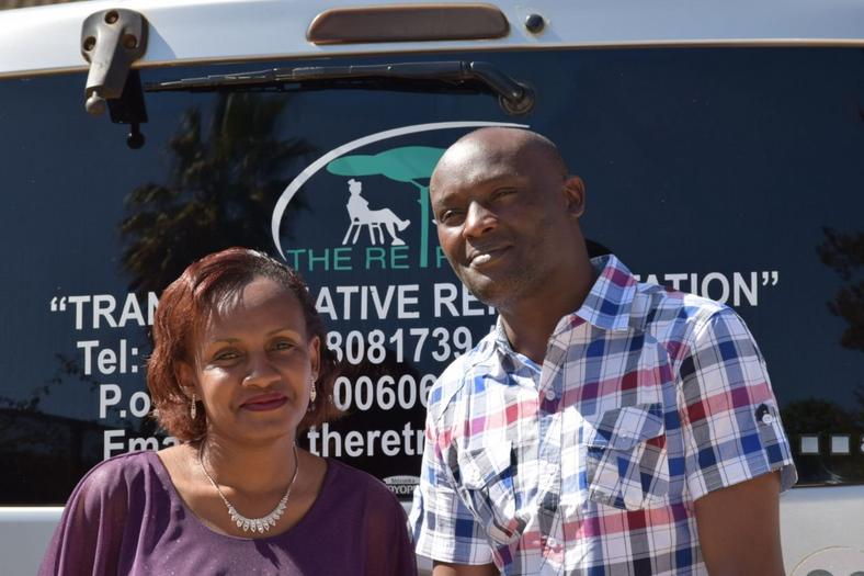 Patrick with his classmate Wanja after rehab (Courtesy)
