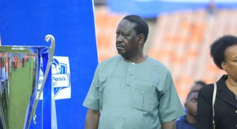 Raila Odinga during the 2019 Sportpesa Cup finals