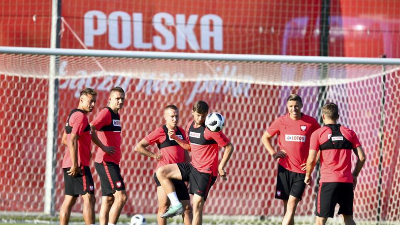 Piłkarze reprezentacji Polski podczas treningu w Soczi