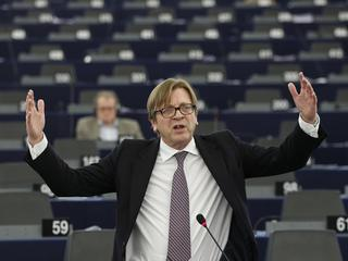 Verhofstadt, President of the Group of the Alliance of Liberals and Democrats for Europe, addresses the European Parliament during a debate on the situation in Ukraine in Strasbourg