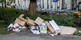 Sterty śmieci na Plantach w Krakowie