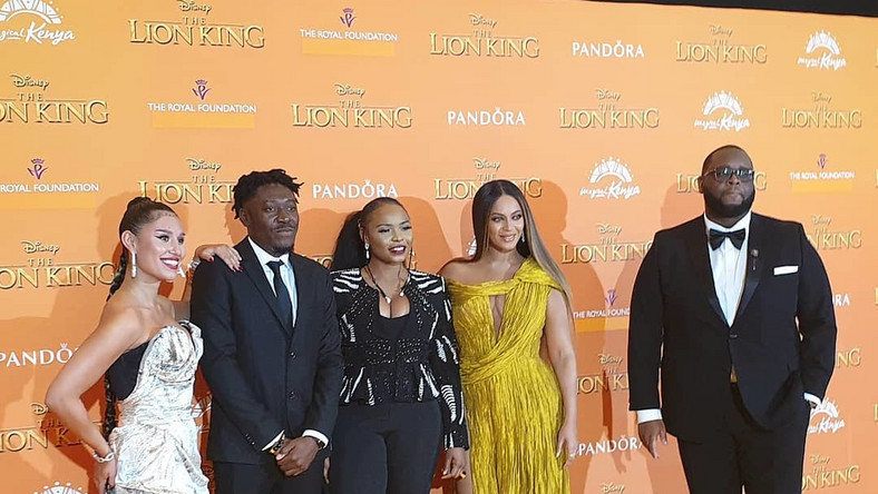 Yemi Alade with Beyonve at the Lion King movie premiere  in London