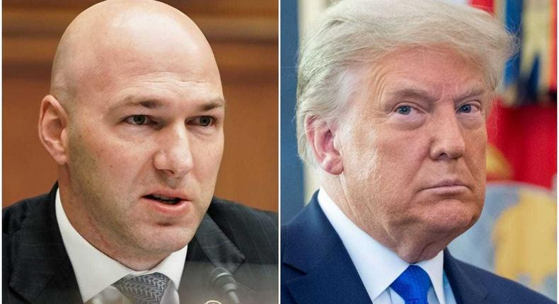 Ohio Rep. Anthony Gonzalez (L) and Former President Donald Trump (R).