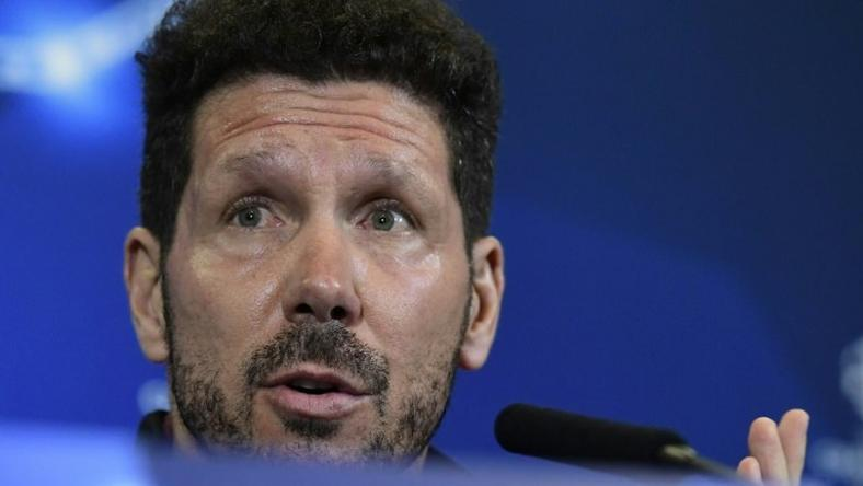 Atletico Madrid's coach Diego Simeone attends a press conference at the Vicente Calderon stadium in Madrid on November 22, 2016