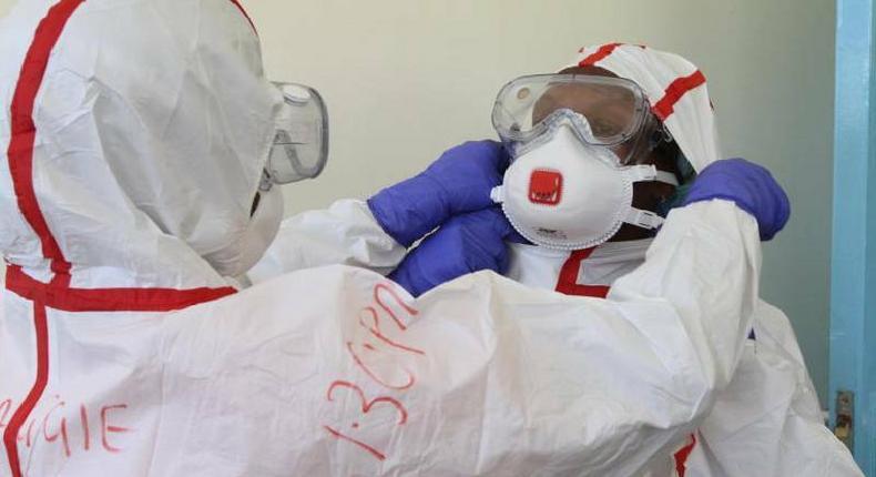 File image of medics at Mbagathi Hospital isolation facility
