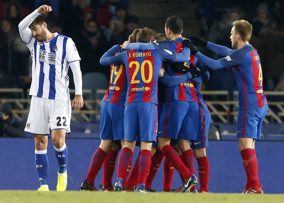 SPAIN SOCCER KING'S CUP (REAL SOCIEDAD VS. BARCELONA)