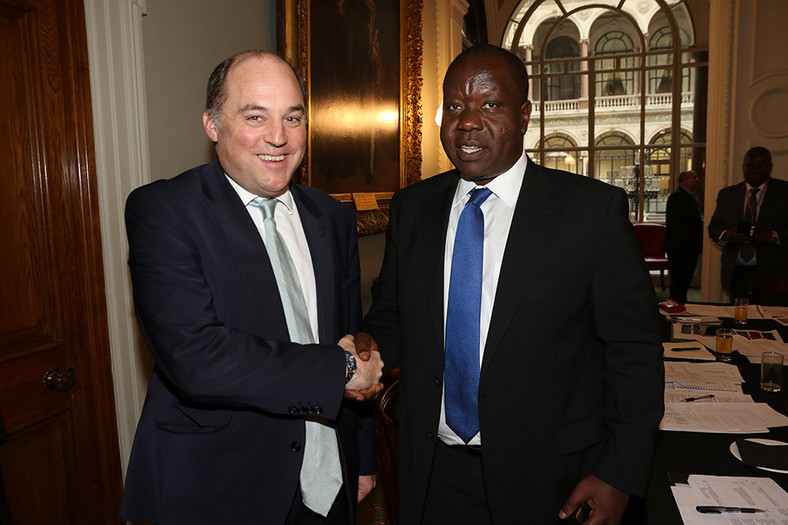 Interior CS Fred Matiang'i (right) with UK Minister of State for Security Ben Wallace after a UK-Kenya security dialogue meeting in London on March 7, 2019