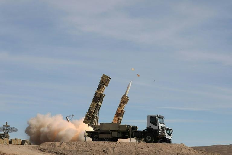 Iranian forces launch a Sayad surface-to-air missile during a drill on November 5, 2018