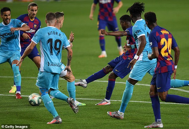 Chidozie Awaziem could only watch as Ansu Fati scored Barcelona's first goal in the 2-0 win over Leganes (Getty Images)