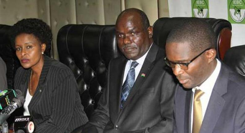 Independent Electoral and Boundaries Commission (IEBC) Chairman Wafula Chebukati (centre) Chief Executive Officer Ezra Chiloba(right) and commissioner Consolata Nkatha Bucha during a past press briefing at the IEBC offices in Nairobi.