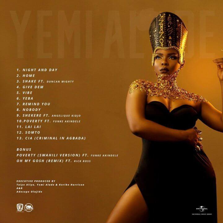 Tracklist for Yemi Alade's album, 'Woman of Steel.' (Effyzie)