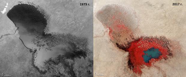 Jezioro Czad w 1973 i 2017 roku