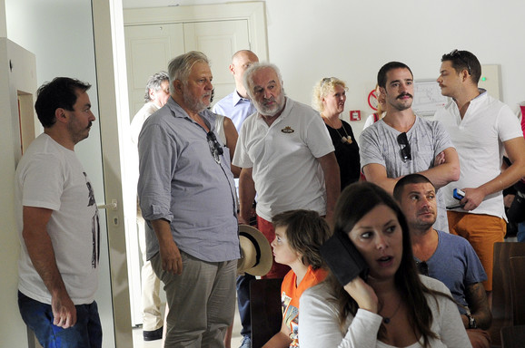 Predrag - Gaga Antonijević (drugi s leva) juče u Kinoteci