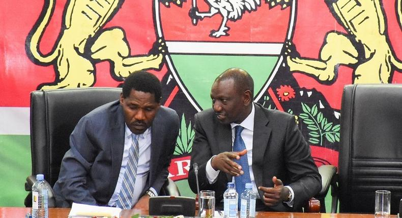 DP William Ruto with Trade CS Peter Munya who was summoned by DCI over an alleged assassination pan against the DP