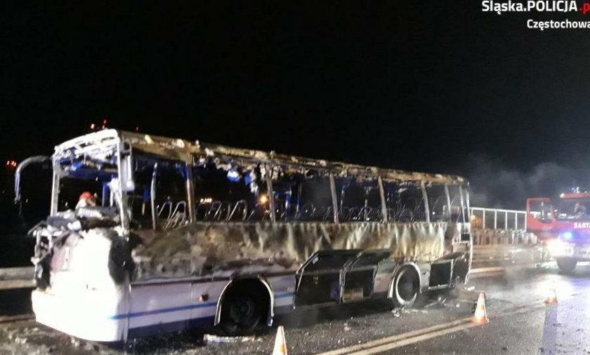 Autobus spłonął na wiadukcie
