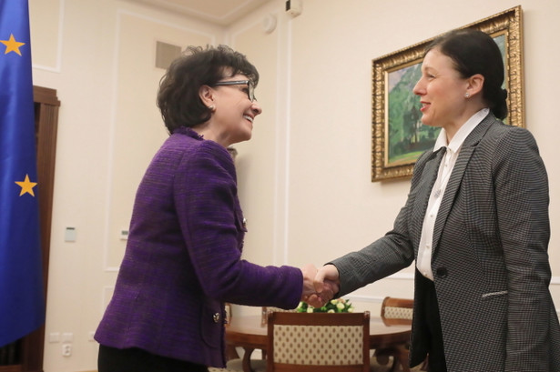 Elżbieta Witek i Věra Jourová przed spotkaniem w Sejmie