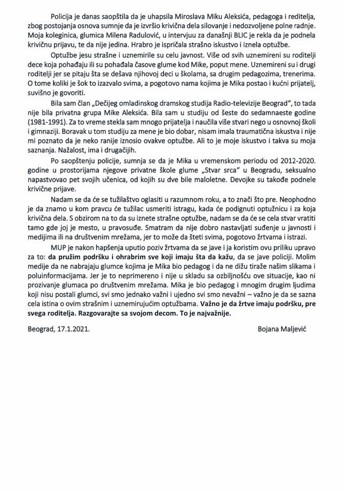 Objava Bojane Maljević