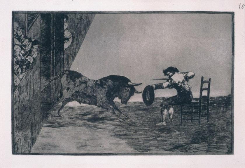 Francisco de Goya, Odwaga Martincho na arenie w Saragossie, 1814-1816, z cyklu: Tauromachia, akwaforta, akwatinta i sucha igła,29,9 x 40,7 cm, edycja: 1937, kolekcja Art Camu, Sardynia