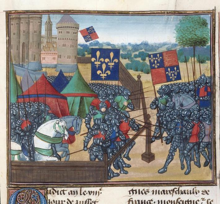 (Miniature only) Siege of Castillion sur Dordogne. French and English troops battle over wooden defe