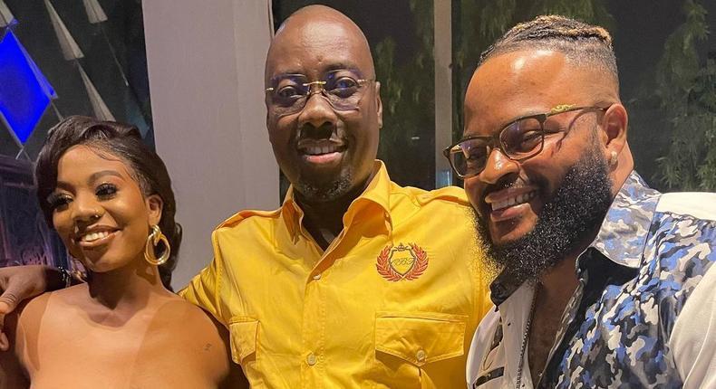 Billionaire businessman Obi Cubana flanked by Whitemoney and Angel [Instagram/ObiCubana]