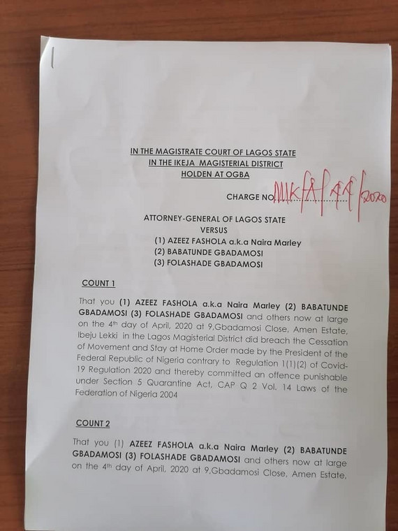 The charges brought before Naira Marley [Lawanson]