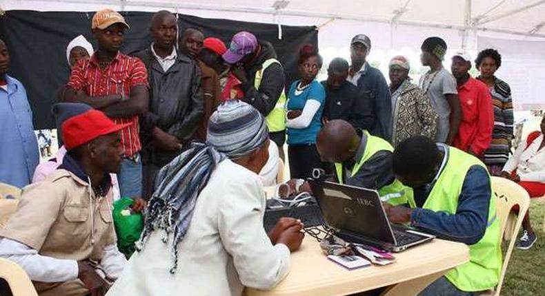 IEBC officials witnessed long queues at the registration centres on Tuesday, February 14, 2017.