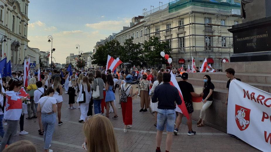 Marsz Wolności wspierający zatrzymanych Białorusinów w Warszawie