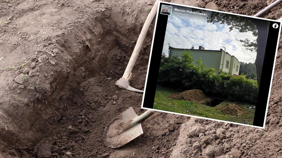 Zakład pogrzebowy w Zielonej Górze wykopał grób tuż przy posesji z domem mieszkalnym