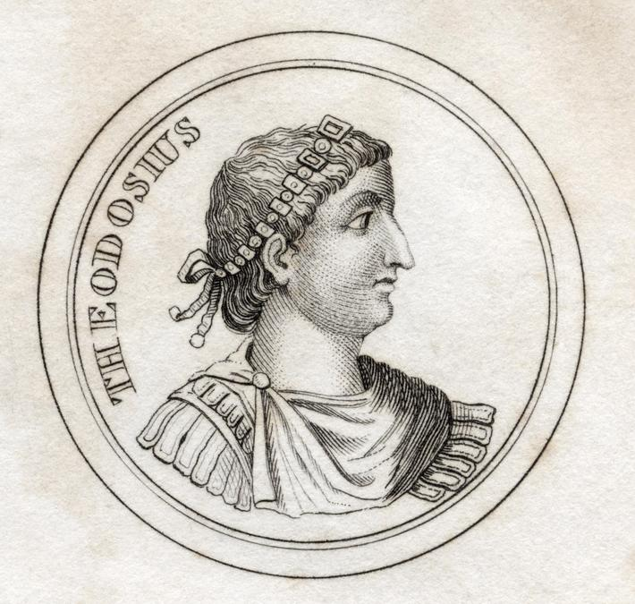 Theodosius the Great Flavius Theodosius AD 347-395 Roman Emperor From the book Crabbs Historical Dic