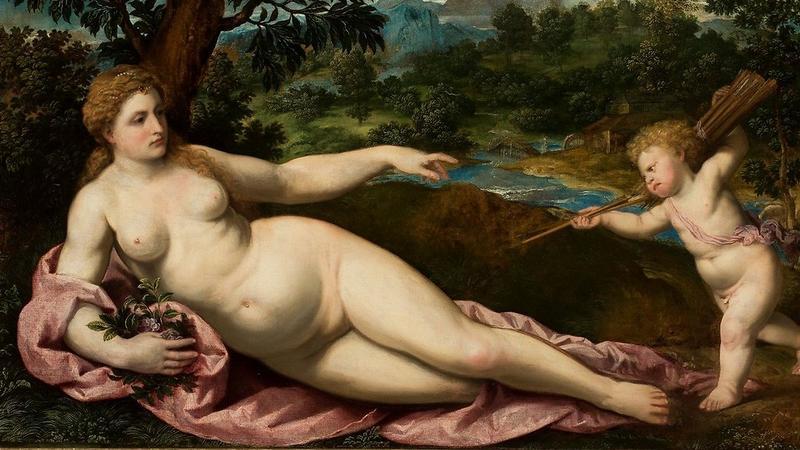 Paris Bordone (1500–1571),Wenus i Amor, lata 30. XVI w., obraz na płótnie