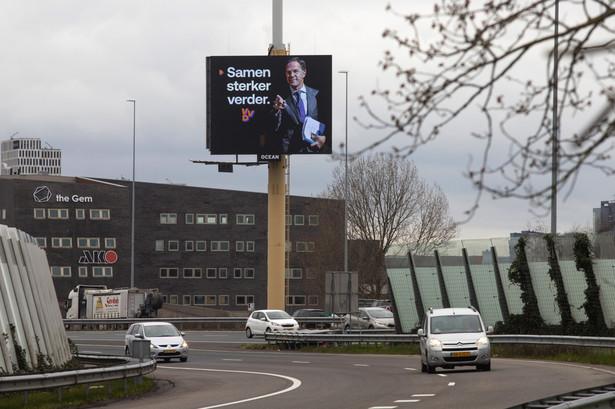 Mark Rutte na plakacie wyborczym VVD. Amsterdam, Holandia. 9.03.2021