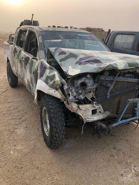 A Boko Haram truck destroyed by the Nigerian Army [Twitter/@HQNigerianArmy]