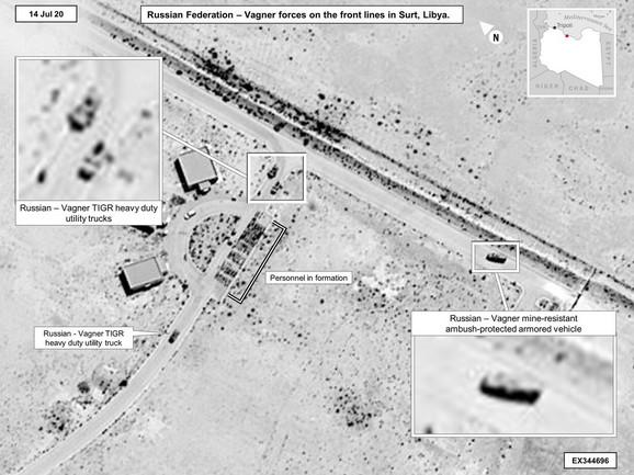 Satelitske slike dokazuju rusku upletenost u Libiji - Vagnerovi kamioni i oklopna vozila u Sirtu