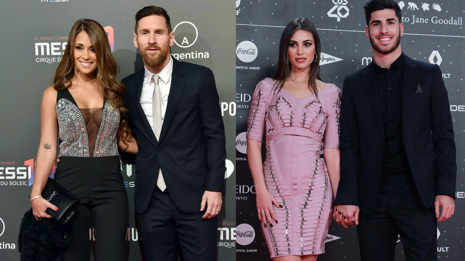 Lionel Messi z Antonelą Roccuzzo, Marco Asensio z Sandrą Garal