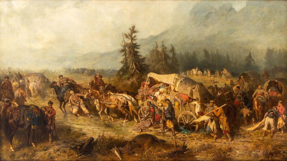 """Józef Brandt """"Powrót z wyprawy wiedeńskiej"""" (1865)"""
