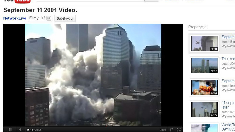 Kadr z amatorskiego nagrania z 11 września 2001