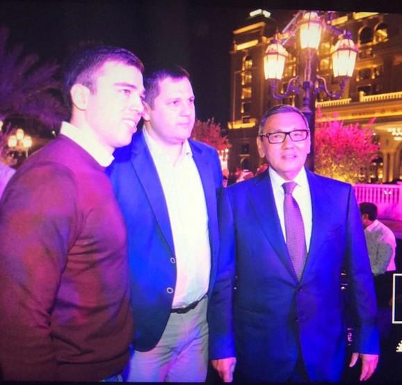 Potpredsednik BSS Miloš Goveljić, predsedik Nenad Borovčanin i novi prvi čovek Međunarodne boks asocijacije Gafur Rahimov
