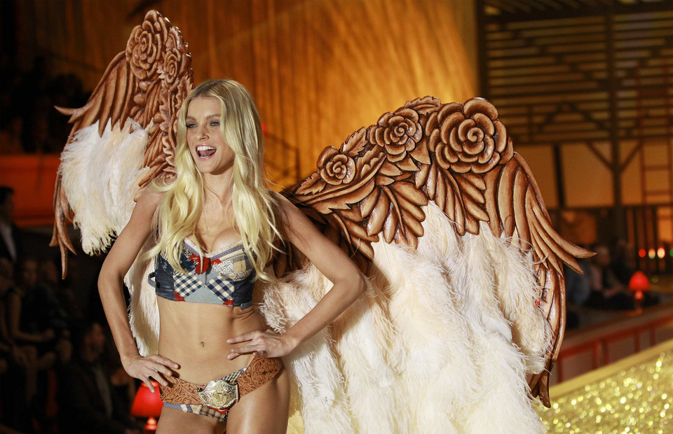 Model Jessica Stam presents a creation during the Victoria's Secret Fashion Show in New York