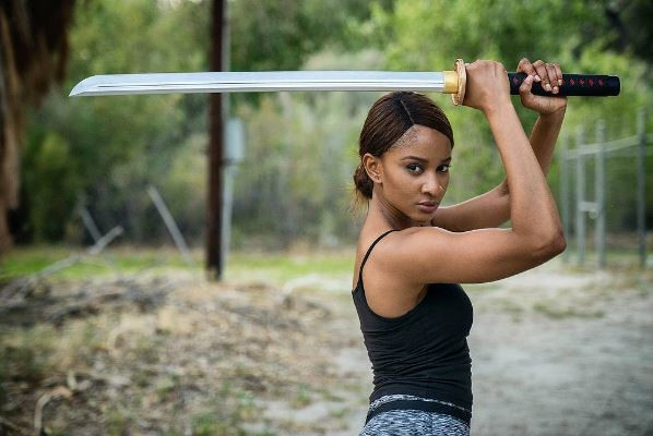 Adesua Etomi-Wellington displays her martial art skills as Muna in new film, 'Muna' [Instagram/Adesua Etomi-Wellington]