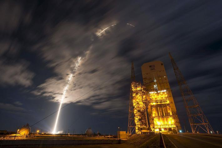 A United Launch Alliance Atlas V rocket carrying Orbital ATKs Cygnus spacecraft on a resupply missi