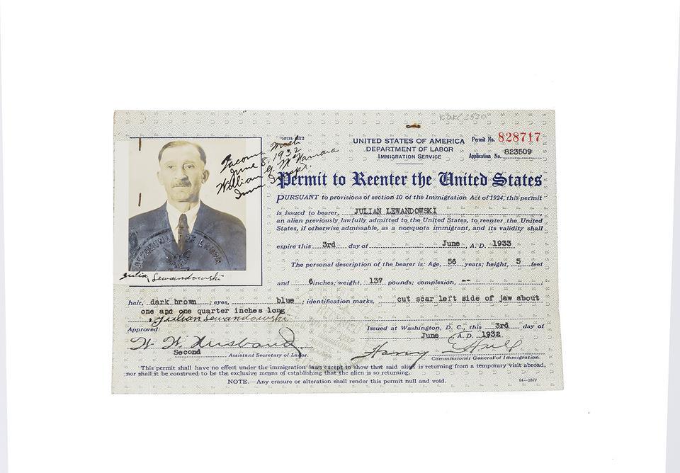 Pozwolenie na czasowy pobyt w USA, 1932 r.
