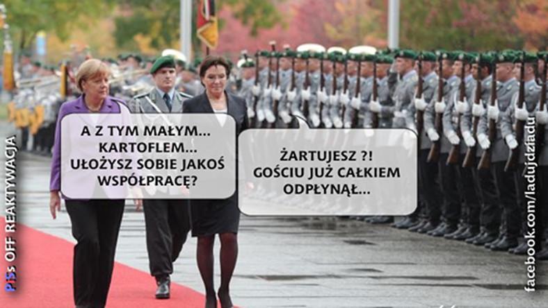 Ewa Kopacz twierdzi, że chce dialogu z prezesem Kaczyńskim. Angeli Merkel powiedziała jednak coś innego