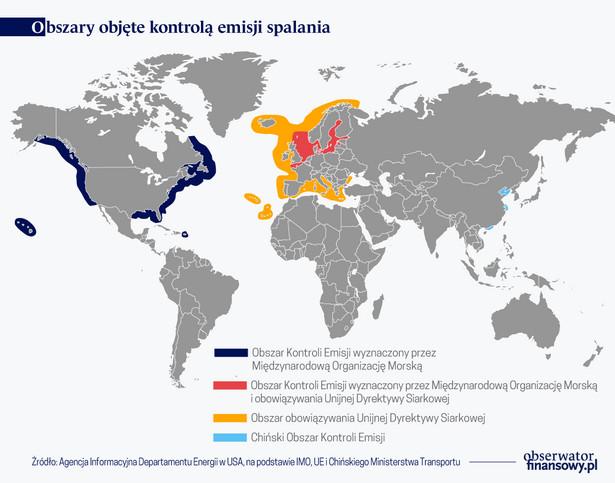 Obszary objęte kontrolą emisji (graf. Obserwator Finansowy)