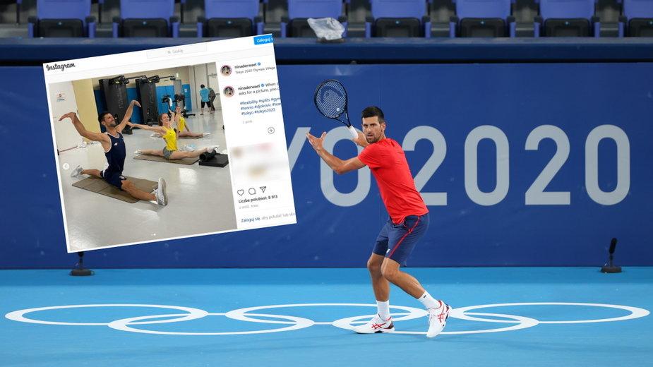 Serb Novak Djoković rozciąga się z gimnastyczkami