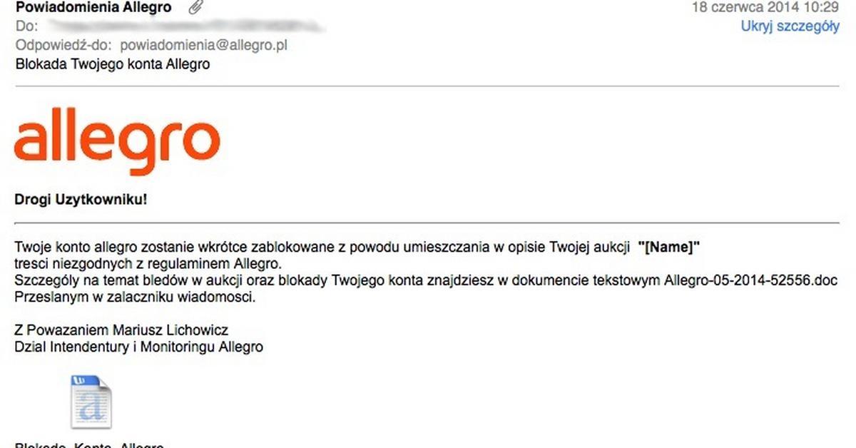 b9702d438e9840 Blokada Twojego konta Allegro - uwaga na niebezpieczne e-maile - Wiadomości